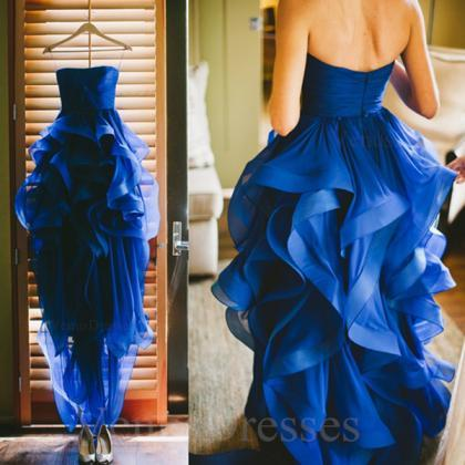 Amazing Royal Blue High-low Asymmet..
