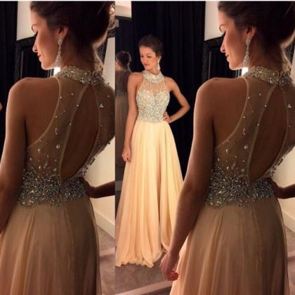 Champagne Beaded High Neck Backless..