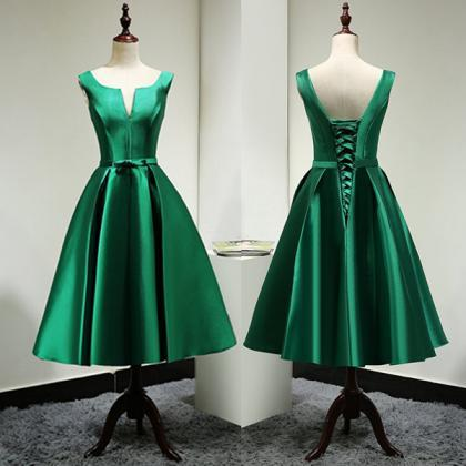 Custom Made Stylish Green A-line V-..