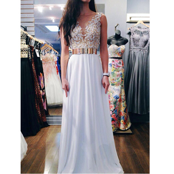 New Trendy Beaded Appliques White A-line Round Neckline Floor Length Prom Dress Handmade