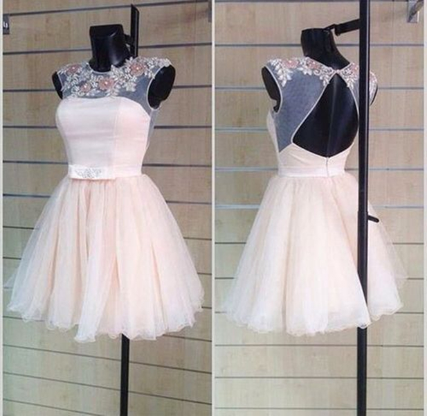 Cute Pearl Pink Liques Open Back Ball Gown Round Neckline Mini Homecoming Dress Wedding Reception Party