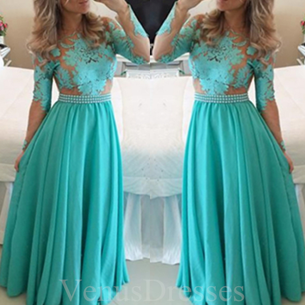 Trendy Turquoise Lace Appliques Full-sleeves Prom Dress Long Formal ...