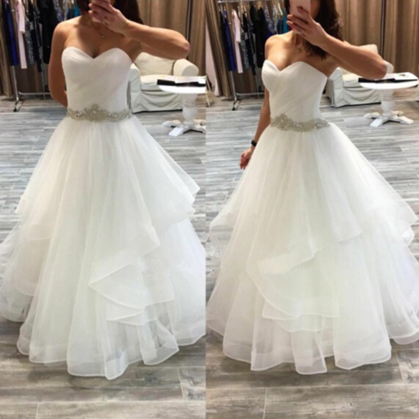 d134ef26d956 Beaded Sash Asymmetrical Ball Gown Sweetheart Neckline Floor Length Organza Wedding  Dress White Bridal Dress Prom