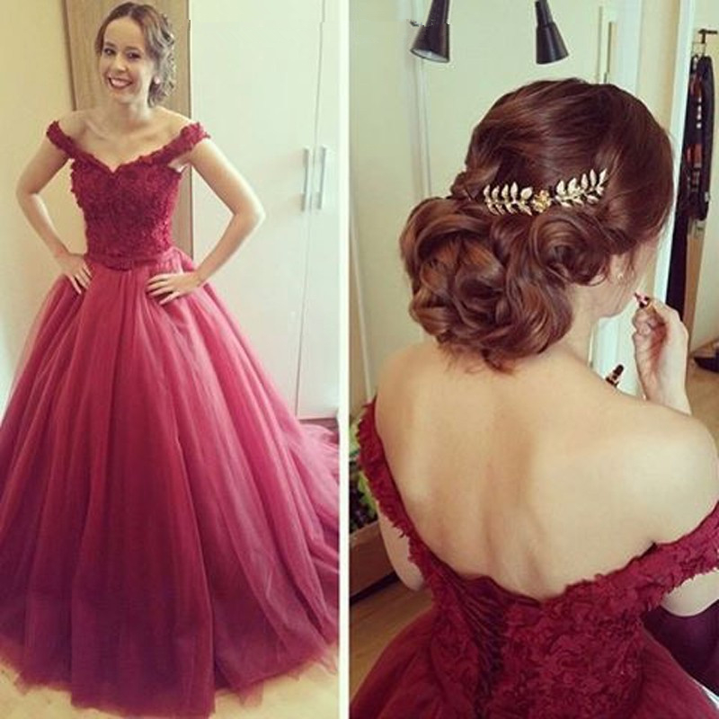 Alluring Burgundy Off-shoulder V-neck Ball Gown Floor Length Prom ...