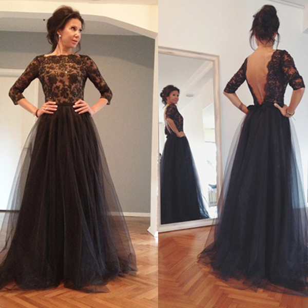 5a448f867f9475 Hot Fancy Black Lace Appliques Half Sleeves High-neck Floor Length Tulle Prom  Dress with