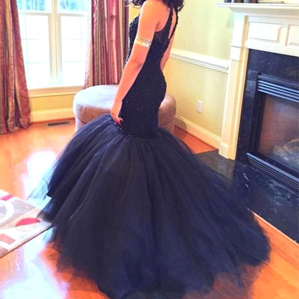 Custom Made Black Mermaid/Trumpet High-neck Floor Length Prom Dress Long Formal Dress with Open Back