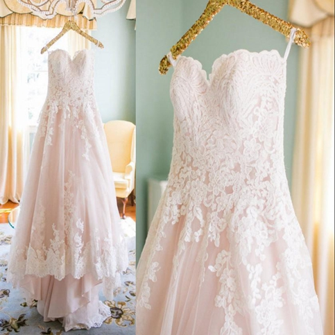 Custom Made Pearl Pink Lace A-line Sweetheart Neckline Court Train Wedding Dress with Zipper Back