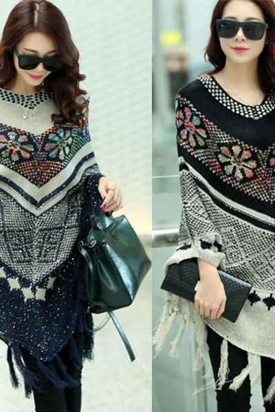Ivory/Navy Sequined Christmas Snowflake Poncho Sweater