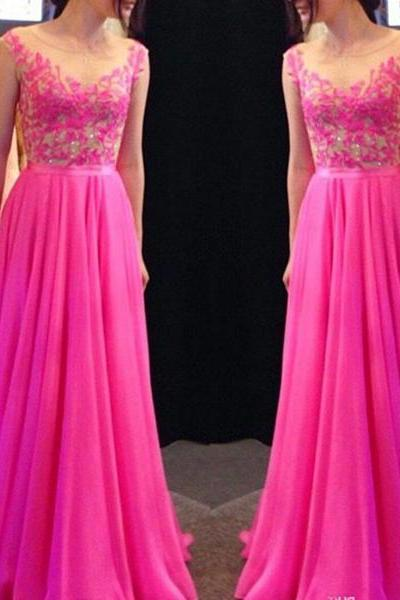 20% Off Newly Fuchsia Lace A-line Round Necline Floor Length Prom Dress Graduation Party Dress