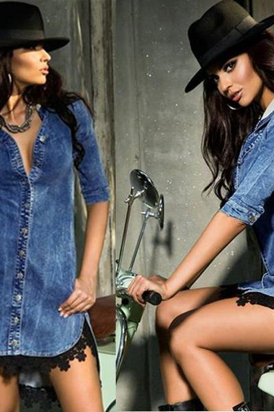 Lace Trim Button Down Denim Shirt Dress Women Dress