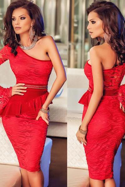 Red Lace One Shoulder Bell Sleeve Peplum Dress Women Fashion Dress