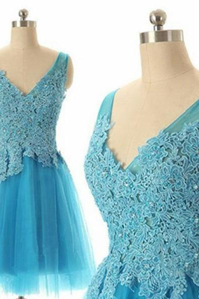 Applique Lace Ball Gown V-neck Mini Prom Dress Graduation Dress Homecoming Dress