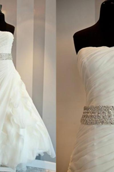 Super Attractive Beaded Sash Ruffle Ball Gown Strapless Sweep Train Organza Wedding Dress Bridal Dress