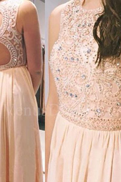 Styles Pearl Pink Beaded Round Neckline Backless Floor Length Prom Dress Party Dress