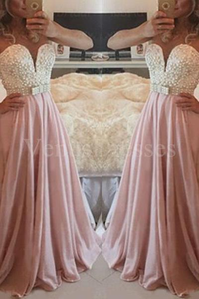 Beaded White Pink Sweetheart Neckline Sweep Train Prom Dress Formal Dress