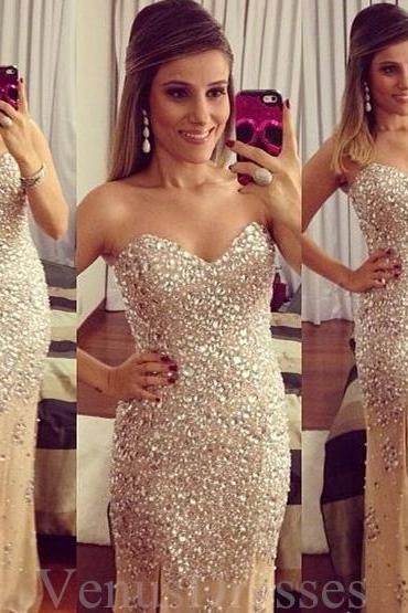 Gorgeous Rhinestoned Champagne Split Prom Dress Evening Dress Party Dress