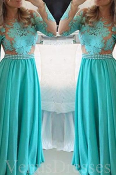 Trendy Turquoise Lace Appliques Full-sleeves Prom Dress Long Formal Dress