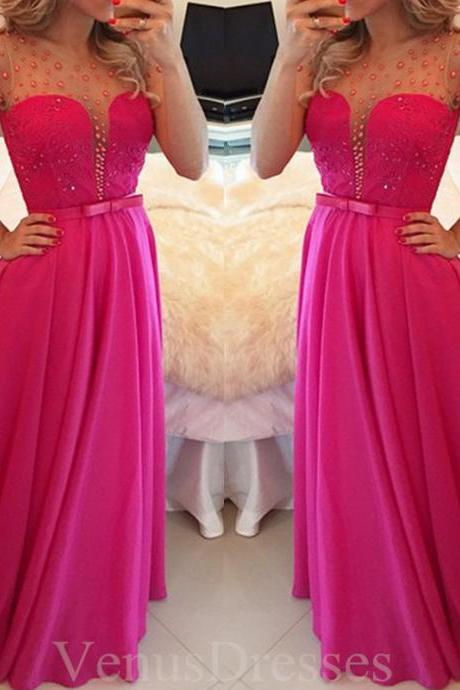 Hot Sheering Fuchsia Dots Cape Sleeves Full Length Prom Dress Long Formal Dress