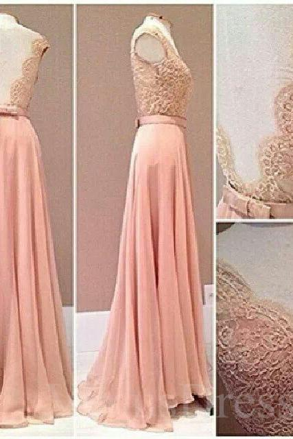 Lovely Candy Pink Lace V-neck Full Length Prom Dress Bridesmaid Dress Long Formal Dress