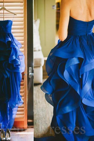 Amazing Royal Blue High-low Asymmetrical Floral Strapless Prom Dress Wedding Dress