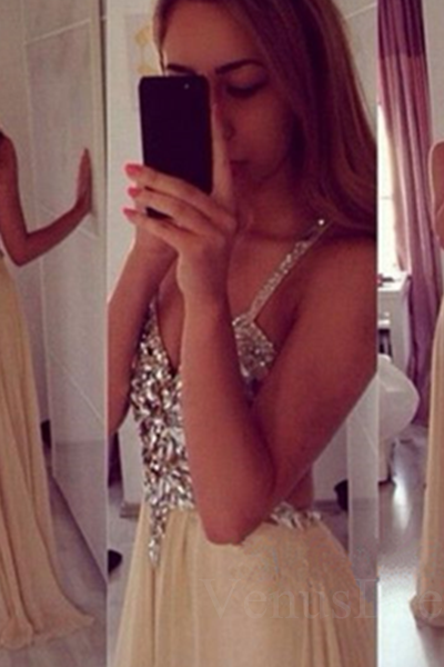 Shiny Sexy Rhinestones Champagne V-neck Backless Floor Length Prom Dress Long Formal Dress