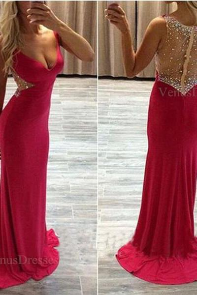 Hot Red Sexy Sheering Back V-neck Sweep Train Prom Dress Long Party Dress