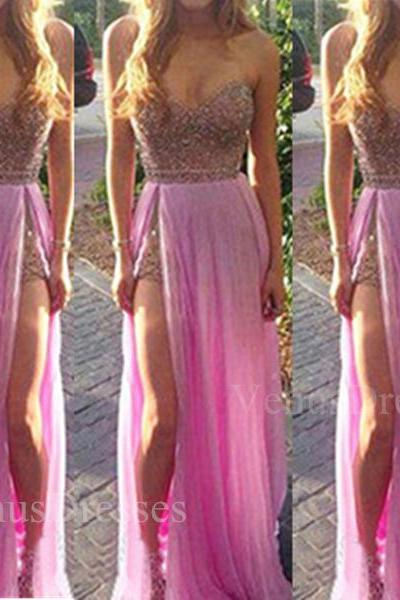 Unique Fuchsia Sequined Bodice Sweetheart Neckline Slit Floor Length Prom Dress with Detachable Skirt