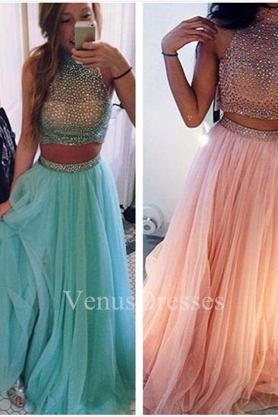 Sheering Two-piece Beaded Bodice High Neck Floor Length Tulle Prom Dress