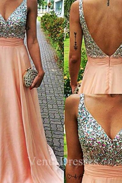 Light Coral Beaded Bodice V-neck A-line Sweep Train Prom Dress with Backless