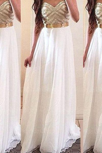 Gold Beaded White A-line Sweethear Neckline Floor Length Prom Dress Graduation Dress