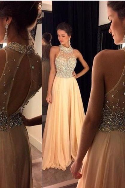 Champagne Beaded High Neck Backless Floor Length Prom Dress Graduation Party Dress