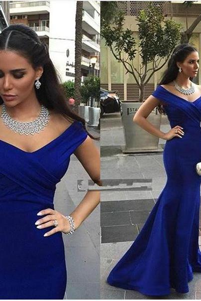 New Sexy Royal Blue Off-shoulder Mermaid/Trumpet Fulle Length Prom Dress Red Carpet Dress Party Dress Long Formal Dress