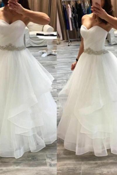 Beaded Sash Asymmetrical Ball Gown Sweetheart Neckline Floor Length Organza Wedding Dress White Bridal Dress Prom Dress