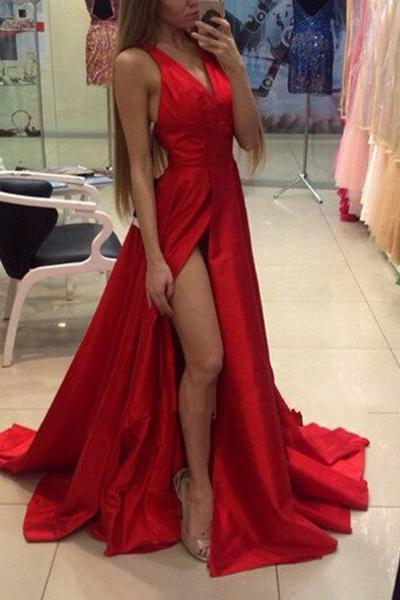 Super Sexy Red V-neck Split Sweep Train Prom Dress Evening Dress Long Party Dress