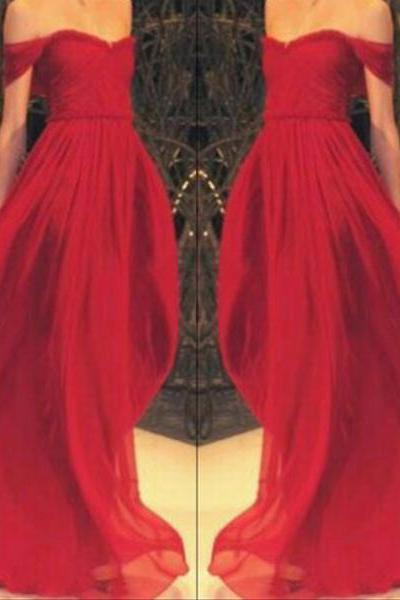 Alluring Unique Hot Red Off-Shoulder A-line Sweep Train Prom Dress Long Formal Dress Graduation Dress