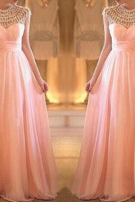 High-neck Rhinestones Pearl Pink A-line Floor Length Prom Dress Formal Party Dress