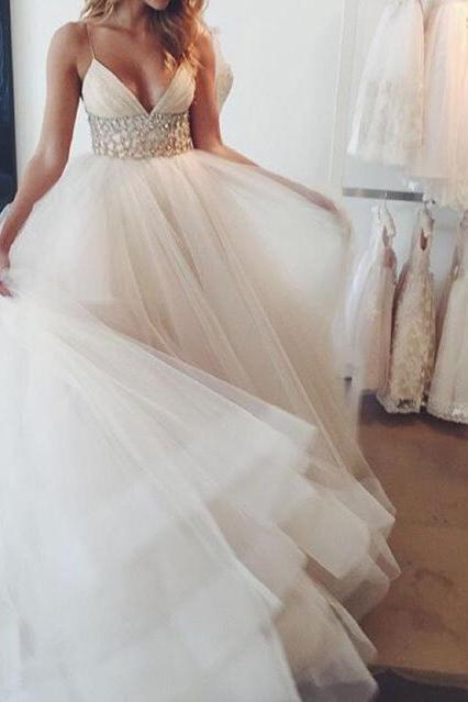 Fascinating Shiny Beaded Sash V-neck Floor Length Tulle Wedding Dress Princess Bridal Dress