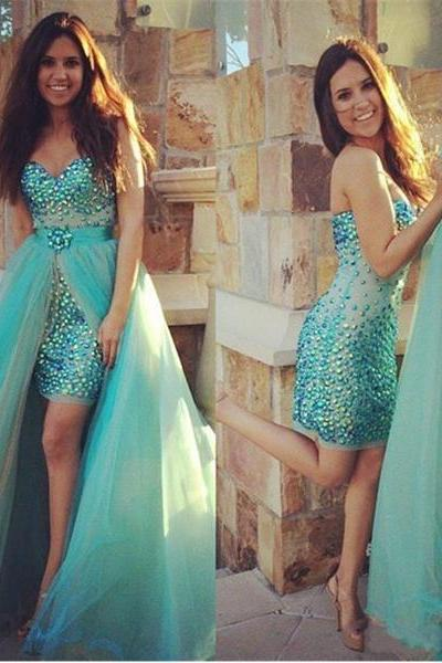 Gorgeous Shiny Beaded Turquoise Sheath/Column Sweetheart Neckline Mini Prom Dress with Detachable Skirt