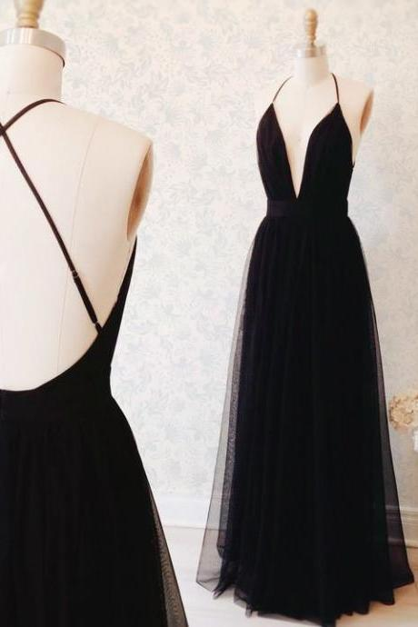 Custom Made Black A-line Deep V-neck Cross Back Floor Length Evening Dress Bridesmaid Dress Graduation Dress