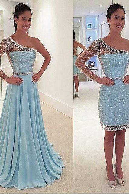 Unique Custom Made Sheering Sleeves Beaded One-shoulder Prom Dress with Detachable Skirt
