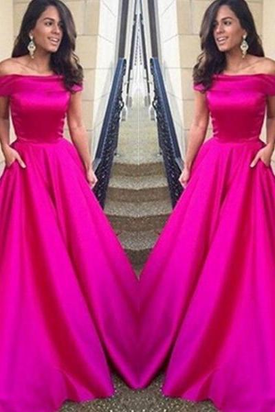 Custom Made Fuchsia A-line Off-shoulder Floor Length Prom Dress Wedding Party Dress