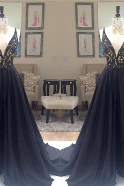 Unique Custom Made Royal Black Lace A-line V-neck Sweep Train Evening Dress Prom Dress