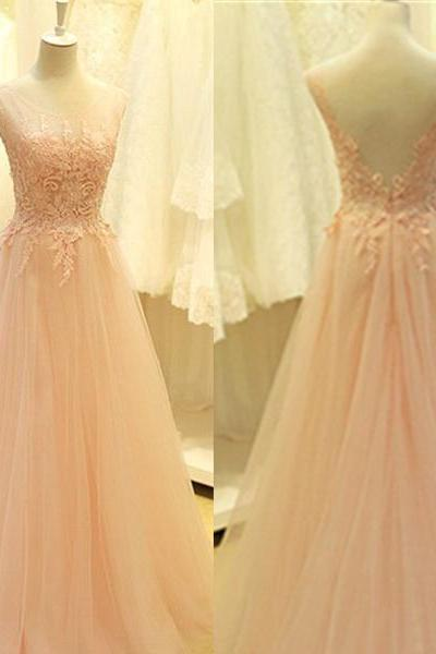 Custom Made Pink Lace Appliques A-line Round Neckline Floor Length Prom Dress Wedding Party Dress Bridesmaid Dress