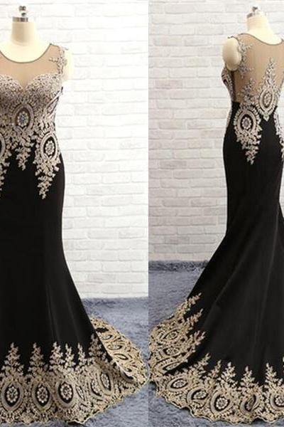 Splendid Custom Made Embroidery Mermaid/Trumpet Round Neckline Sweep Train Prom Dress Evening Dress Party Dress
