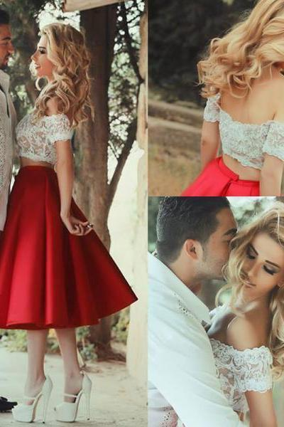 Unique Two-piece Off-shoulder Lace Top with Tea Length Red Skirt Party Dresses