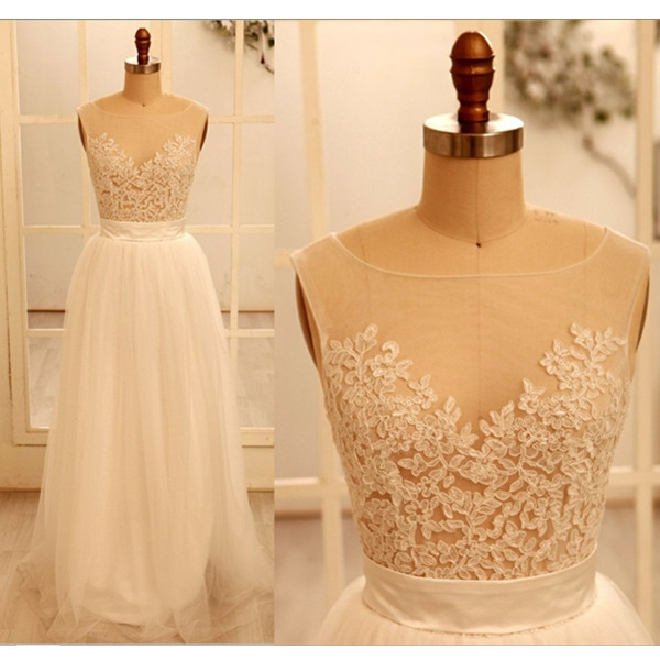 Ivory Appliques Lace Round Neckline Floor Length Prom Dress Wedding Dress Handmade