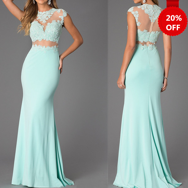 Two-piece Mint Lace High Neck Bare-midriff Floor Length Prom Dress Handmade