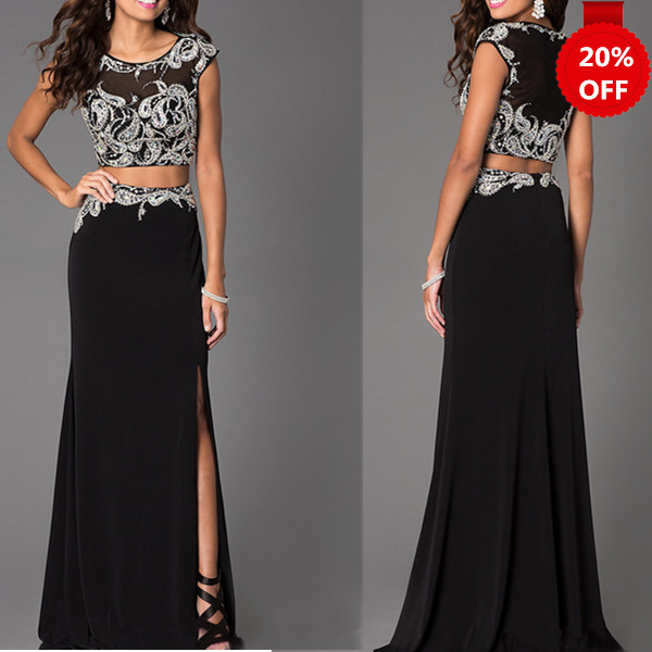 Black Beaded Sheath/Column Two-piece Round Neckline Floor Length Split Prom Dress Evening Dress Handmade