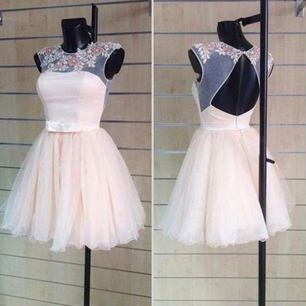 Cute Pearl Pink Appliques Open Back Ball Gown Round   Neckline Mini Homecoming Dress Wedding Reception   Dress Party Dress