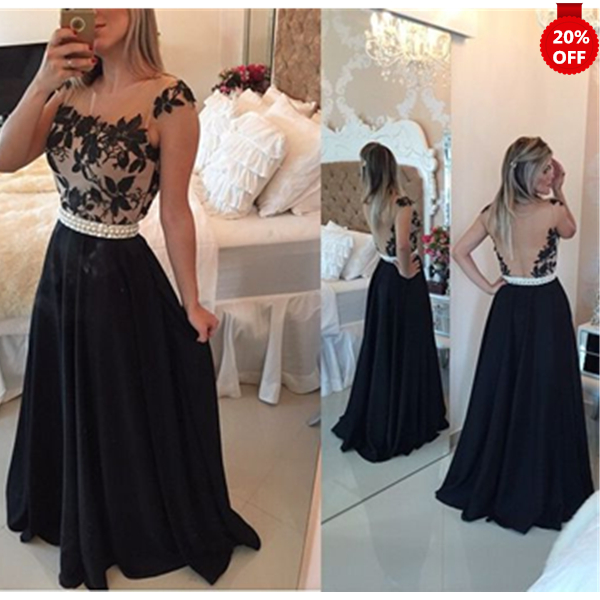 Black Friday&Xmas Previous Sale 20% Off Black Lace Round Neckline Floor Length Prom Dresses Formal Dresses